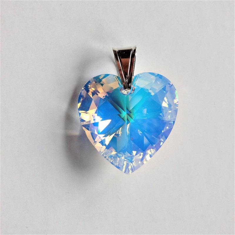 Pendentif Coeur cristal Swarovski et bélière argent aurore boréale
