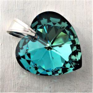 Pendentif Coeur en cristal Swarovski 28mm bleu Bermuda Blue sur bélière en argent
