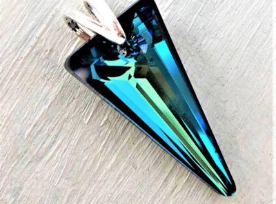 Pendentif Spike cristal Swarovski 28 mm bleu Bermuda Blue argent