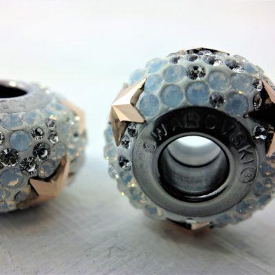 Charm Etoile métal rhodié pavé de cristaux Swarovski blanc et doré