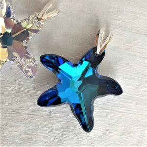 Pendentif-Etoile-de-mer-28-mm-en-cristal-Swarovski-et-bélière-argent-bleu