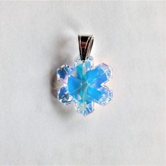 Pendentif Flocon de neige en cristal Swarovski monté sur bèlière argent aurore boréale