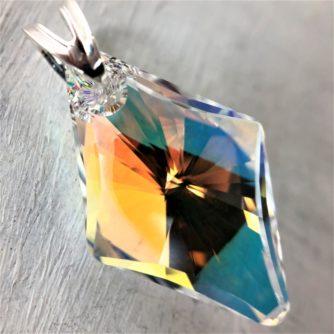Pendentif Rhombus cristal Swarovski sur bélière argent Aurore Boreale