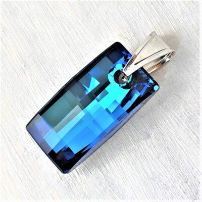 Pendentif Urban rectangulaire cristal Swarovski 30mm bleu Bermudas blue bélière argent