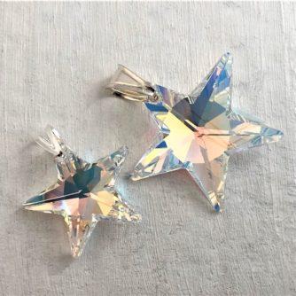 Pendentifs Etoile cristal Swarovski bélière argent Aurore Boréale