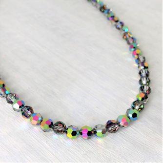 Collier de perles cristal Swarovski pierres du Rhin vert Vitrail Medium