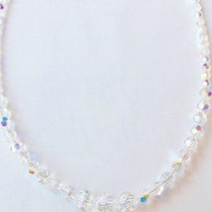 Collier de perles en cristal Swarovski 8, 6 et 4 mm Aurore Boréale