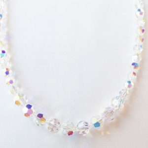 Collier perles cristal Swarovski Aurore Boréale pierre du Rhin
