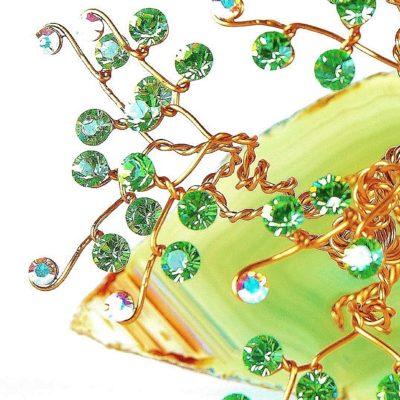Arbre en fil de métal et cristal Swarovski