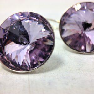 Dormeuses rondes montures argent ornées de cristaux Swarovski Violet