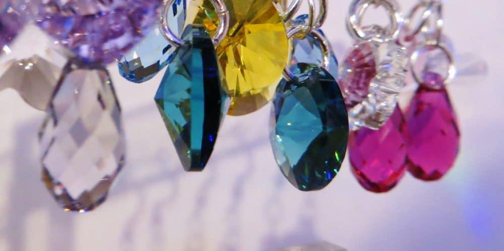 Boucles d'oreilles fantaisies artisanales en argent 925 et cristal Swarovski
