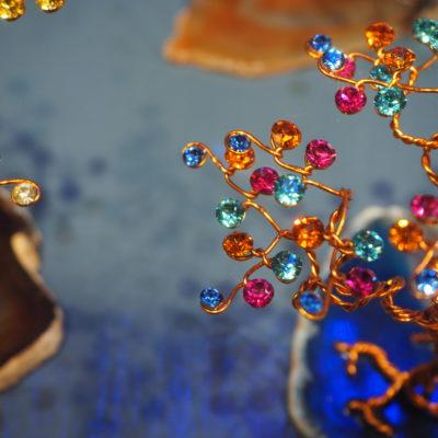 Arbre de Vie en fil de cuivre et cristal Swarovski