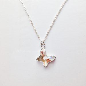 Pendentif Papillon cristal Swarovski et chaîne en argent