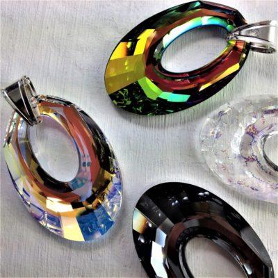 Pendentif Hélios en perles de cristal Swarovski 40 mm montées sur attache en argent 925