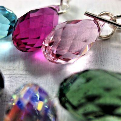Boucles d'oreilles Briolette en perle de cristal Swarovski 13 mm sur crochets en argent 925