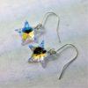 Boucles d'oreilles Etoile perles de cristal Swarovki 20 mm sur crochets argent 925 Aurore Boréale
