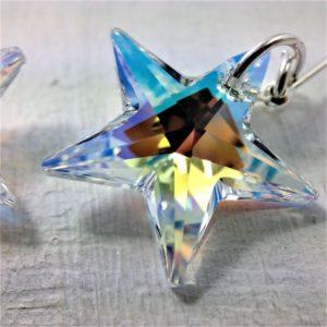 Boucles d'oreilles Etoile perles de cristal Swarovki 20mm sur crochets argent 925 Aurore Boréale