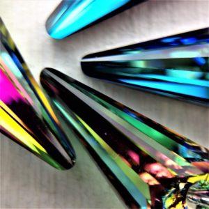 Boucles d'oreilles Spike perles Swarovski triangle sur crochets en argent