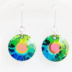 Boucles d'oreilles cristal Swarovski et argent soleil vert vitrail medium