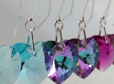 Boucles d'oreilles coeur cristal swarovski et argent