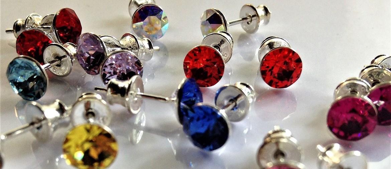 Boucles d'oreilles clous cristal Swarovski monté sur tige argent