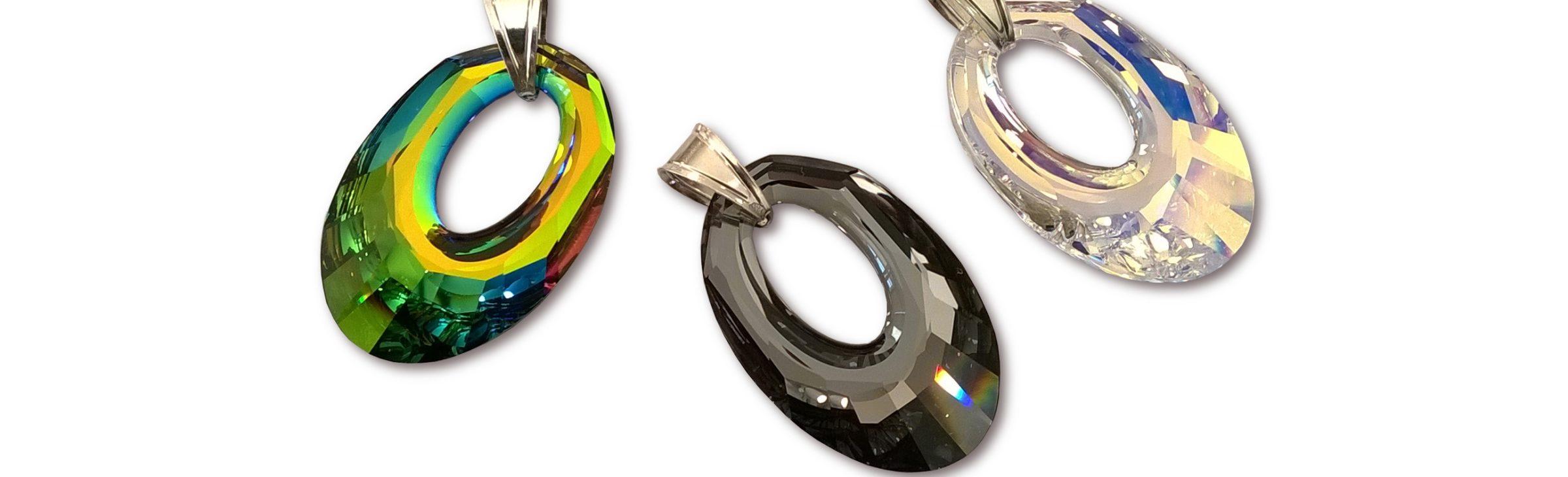 Pendentifs Hélios en cristal Swarovski et argent