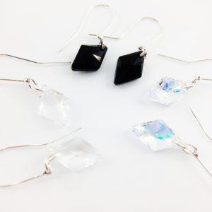 Boucles d'oreilles Rhombus en argent et perles de cristal Swarovski