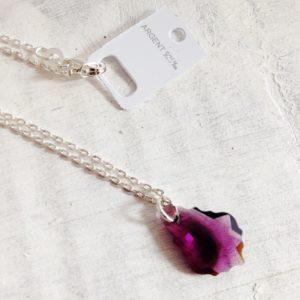 Pendentif Petite Baroque violet Améthyste en cristal Swarovski et chaine argent