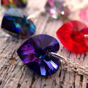 Pendentif Petits cœur chaines argent ornés de cristaux Swarovski