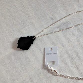 Pendentif Baroque 22 mm noir Jet en cristal Swarovski monté sur chaîne argent