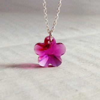 pendentif Fleur 12mm Fuchia en cristal Swarovski monté sur chaine en argent