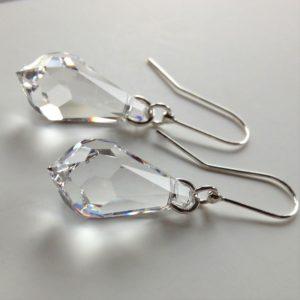 Boucles d'oreilles Pendule en cristal Swarovski 22mm crochets en argent Cristal transparent