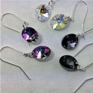 Boucles d'oreilles ovales perles de cristal Swarovski 12 mm montées sur crochets en argent 925