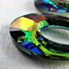 Détail Pendentif Hélios en perles de cristal Swarovski 20 mm chaîne argent 925 Vitrail Medium vert violet
