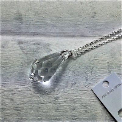 Pendentif Pendule perle Cristal Swarovski 22 mm montée sur une chaine argent Cristal transparent