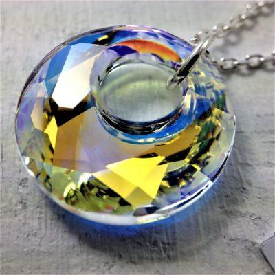 Pendentif Victory perle de cristal Swarovski 18mm sur chaîne en argent 925 Aurore