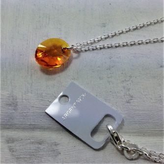 Pendentif Oval perle de cristal Swarovski 12 mm montées sur chaîne en argent 925 orange Tangerine