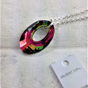 Pendentif Hélios en perles de cristal Swarovski 20 mm montées sur Chaîne en argent 925 Silver Night gris hématite