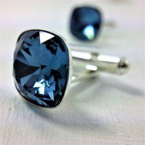 Boutons de manchettes perles de cristal Swarovski 14 mm bleu Denim Blue et argent 925