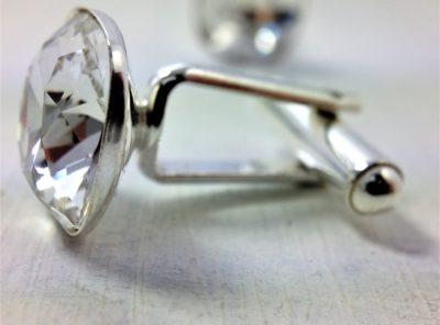 Boutons de manchettes perles de cristal Swarovski 14 mm cristal blanc transparent et argent 925