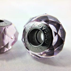 Charm Briolette métal rhodié cristal Swarovski facetté violet Light Améthyste