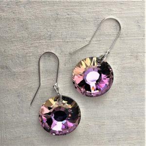 Boucles d'oreilles 19mm Soleil en argent orné de cristaux Swarovski violet-vert Light Vitrail