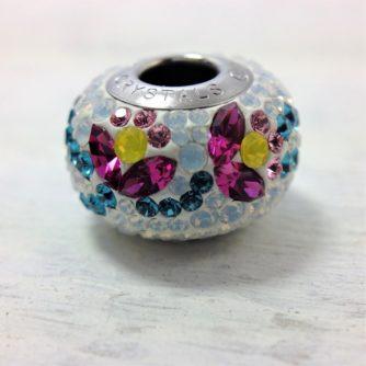 Charm fleur fuschia jaune métal rhodié crystal Swarovski