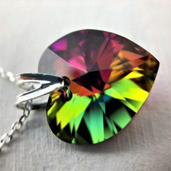 Collier Coeur en argent orné de cristaux Swarovski de 18mm vert violet Vitrail Medium