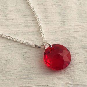 Pendentif Rose des Vents chaîne argent ornée d'un cristal Swarovski rouge 14mm