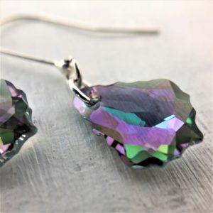 Boucles d'oreilles Baroque cristal Swarovski violet vert Paradise Shine sur argent