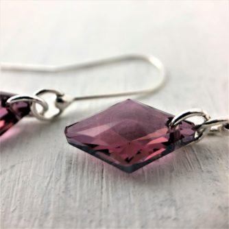 Boucles d'oreilles Losange cristal Swarovski monture argent Antik Pink