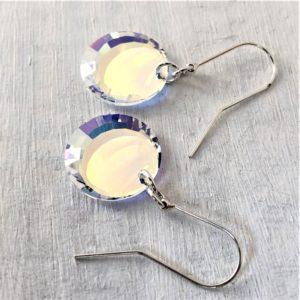 Boucles d'oreilles Miroir en cristal Swarovski sur argent
