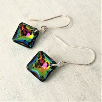 Boucles d'oreilles carrées cristal Princesse