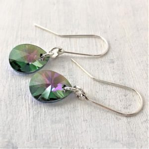 Boucles d'oreilles ornées de perles de cristal Swarovski® de 12 mm Paradise Shine montées sur des crochets en argent
